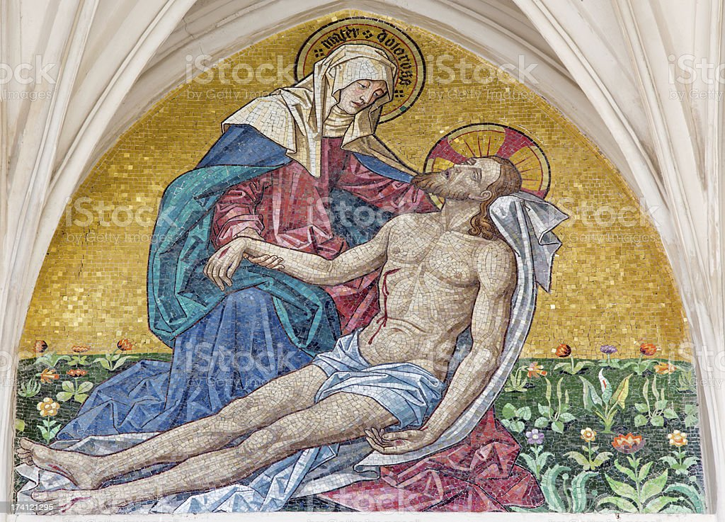 Vienna -  Mosaic of pieta from church Maria am Gestade royalty-free stock photo