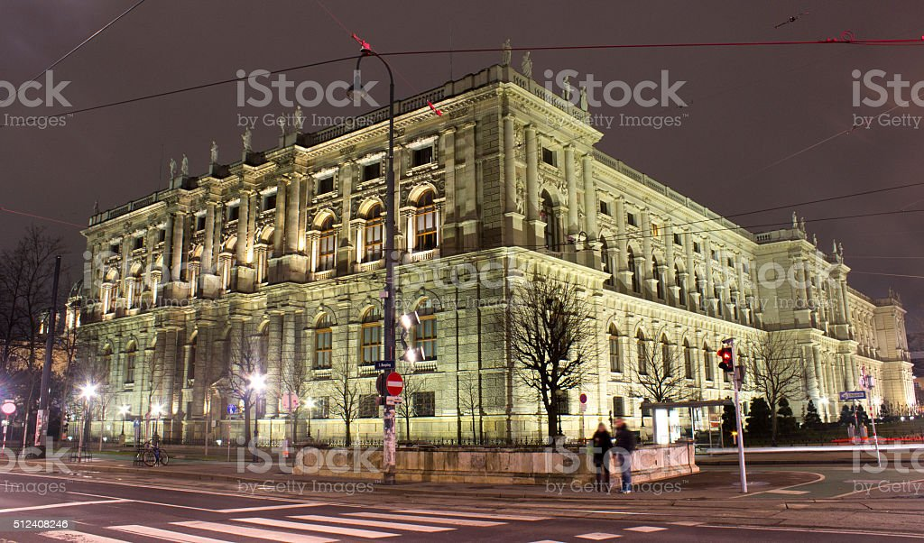Vienna opera house at night time stock photo