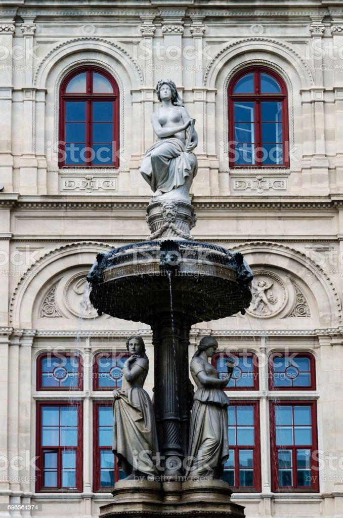 Vienna Opera House fountains stock photo