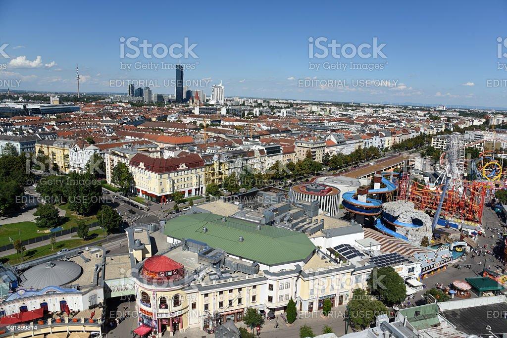 Vienna Panorama with Prater stock photo