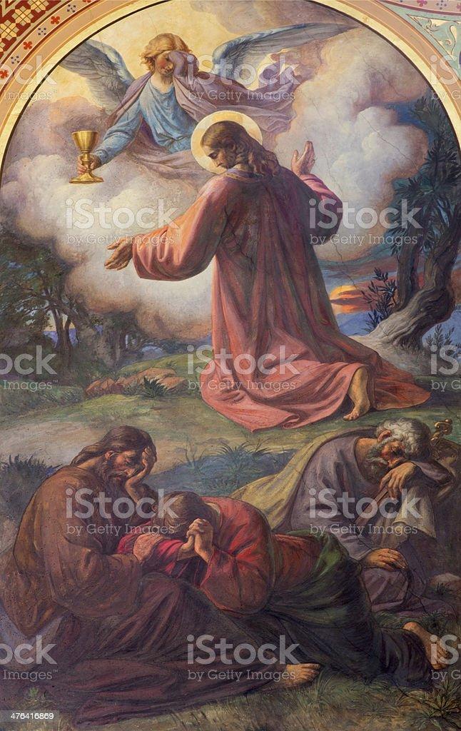 Vienna - Prayer of Jesus in Gethsemane garden stock photo
