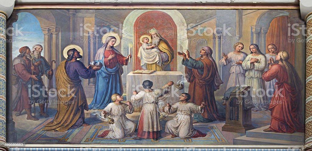 Vienna - Presentation little Jesus in the Temple fresco stock photo