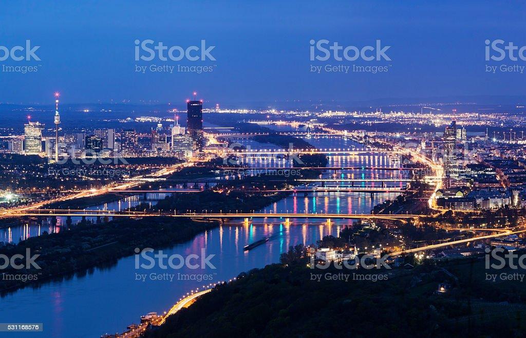 Vienna skyline and Danube River stock photo