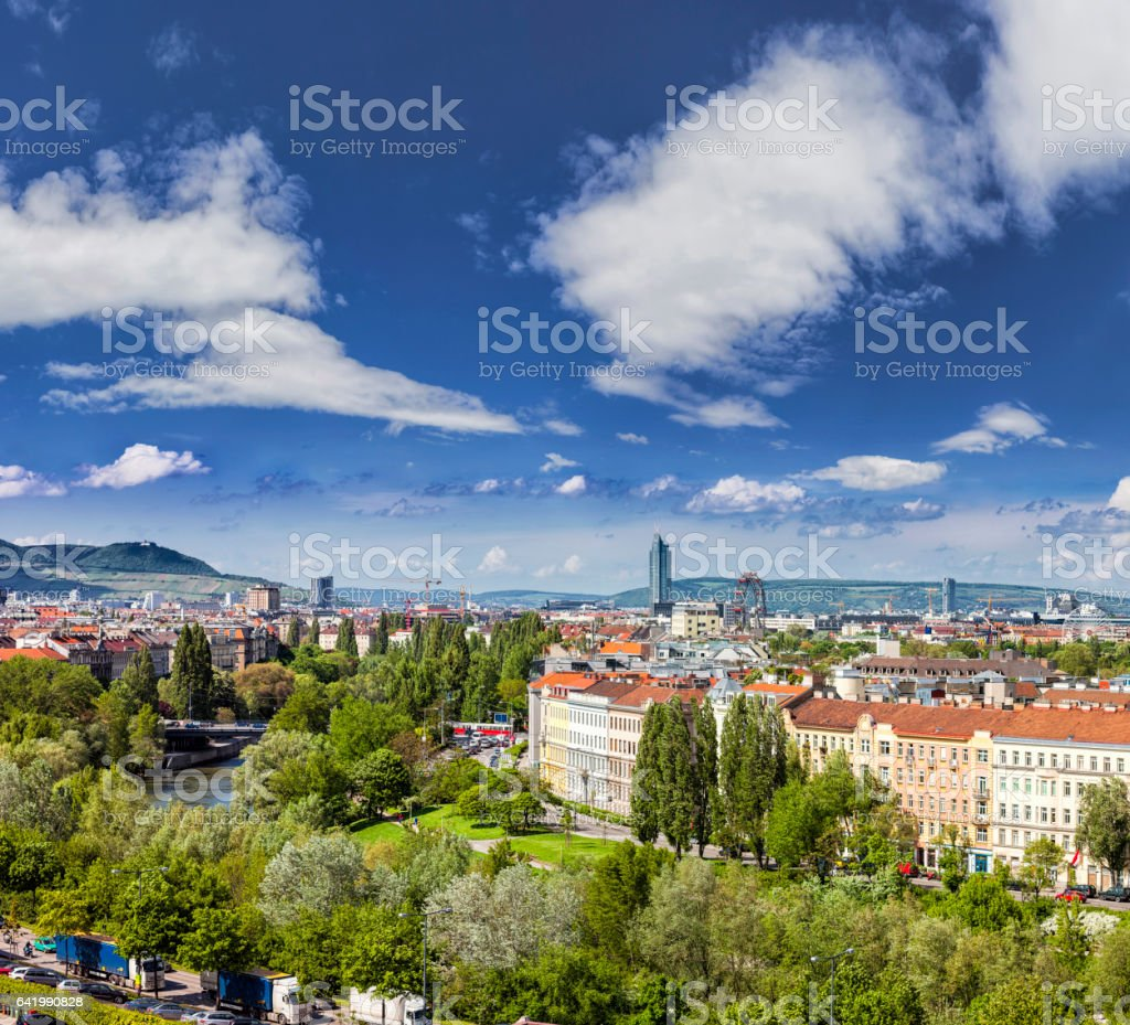 Vienna Skyline at the Danube Canal stock photo