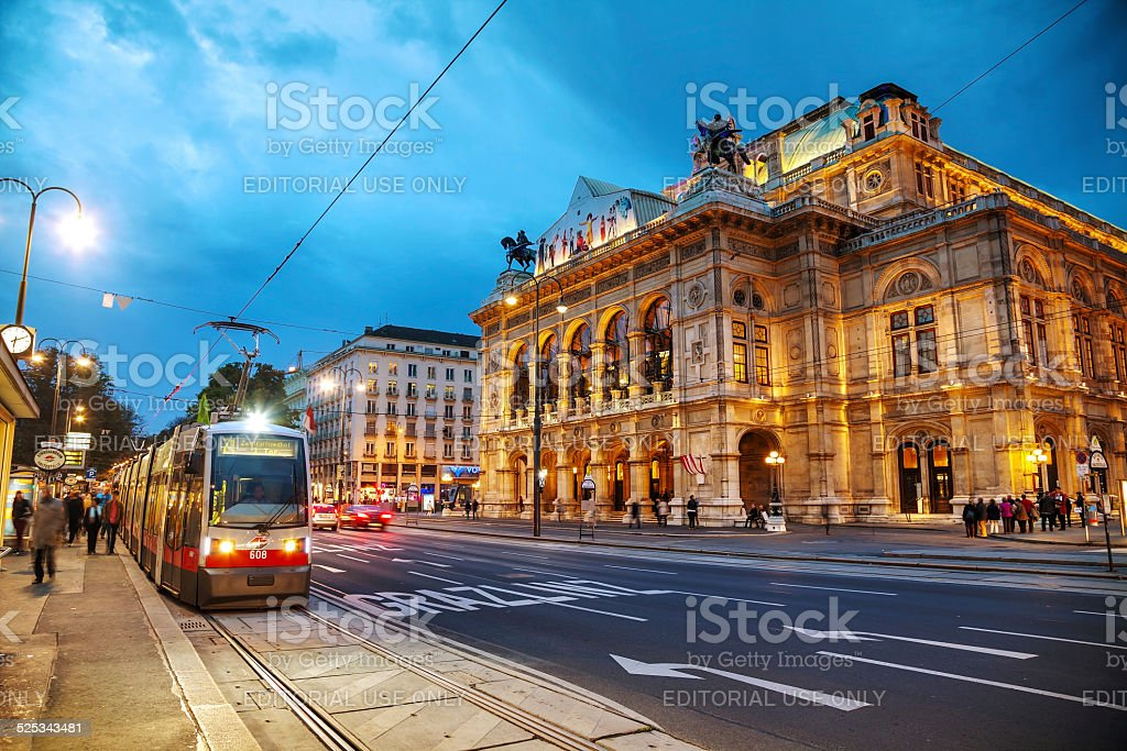 Vienna State Opera at night stock photo