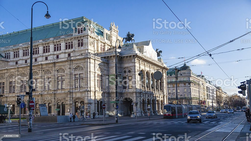 Vienna State Opera House Early Morning December stock photo