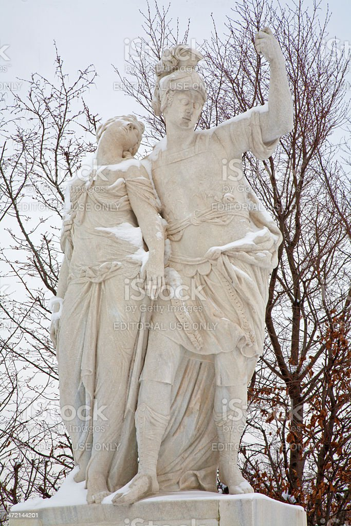 Vienna - Statue of Brutus and Lucretia from Schonbrunn gardens stock photo