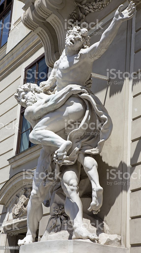 Vienna - Statue of Hercules fighting Antaeus in Hofburg royalty-free stock photo