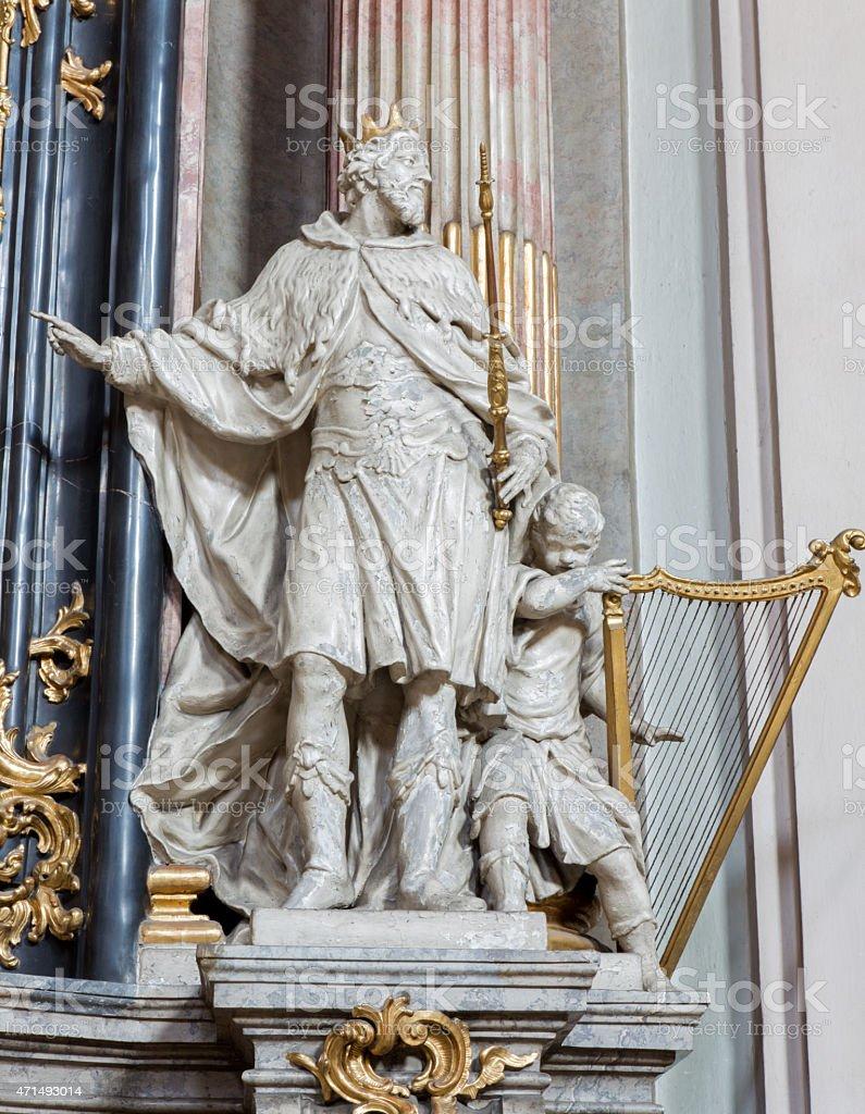 Vienna - Statue of king David from church Maria Treu stock photo