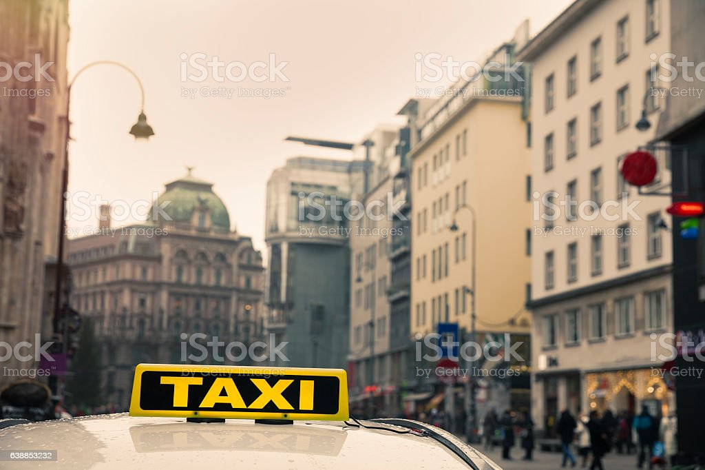 Vienna street view with taxi stock photo