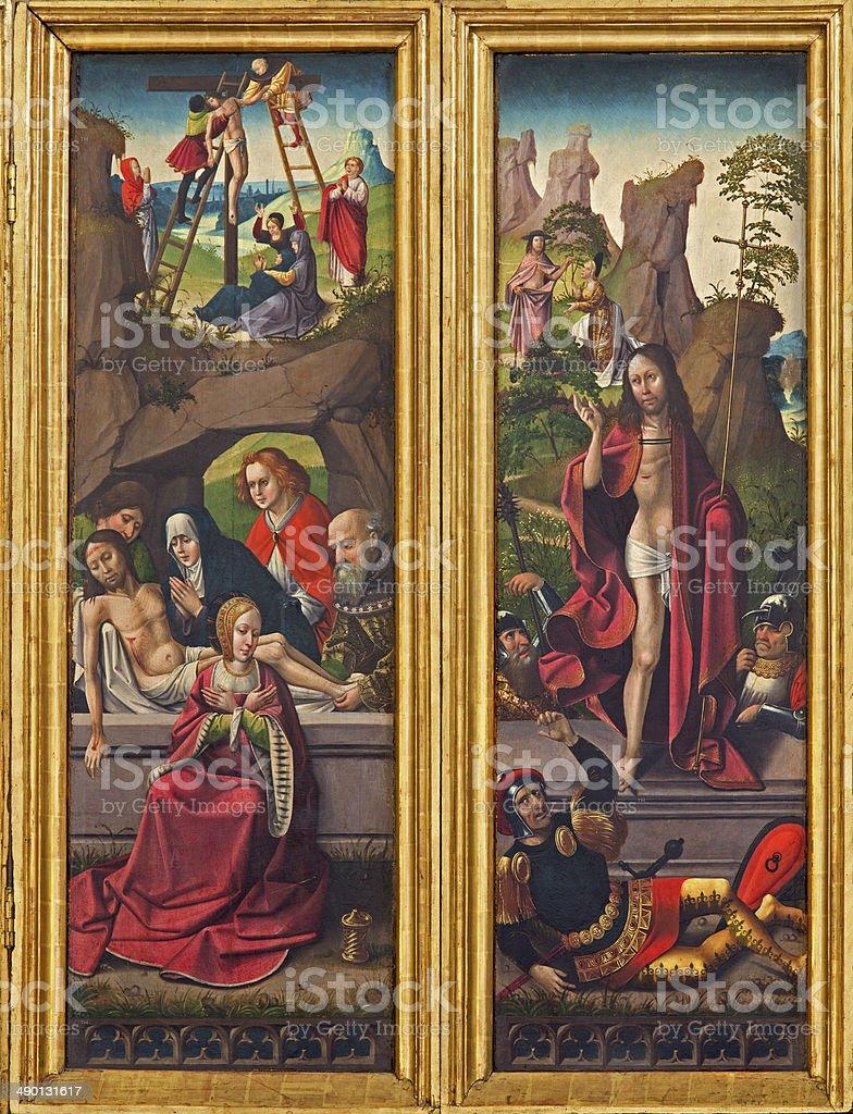 Vienna - The Burial and Resurrection of Jesus scene stock photo