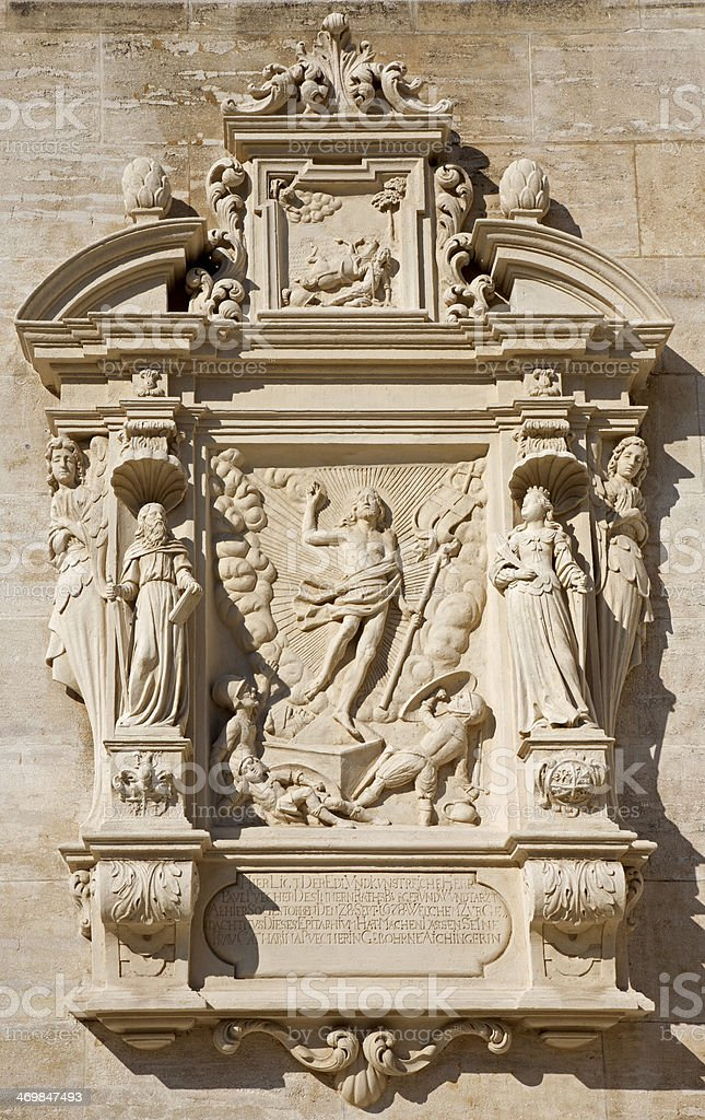 Vienna - Tomb stone with the resurrection of Jesus relief from west...