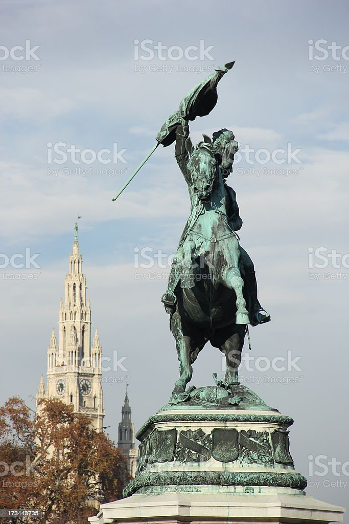 Vienna Town Hall and Statue royalty-free stock photo