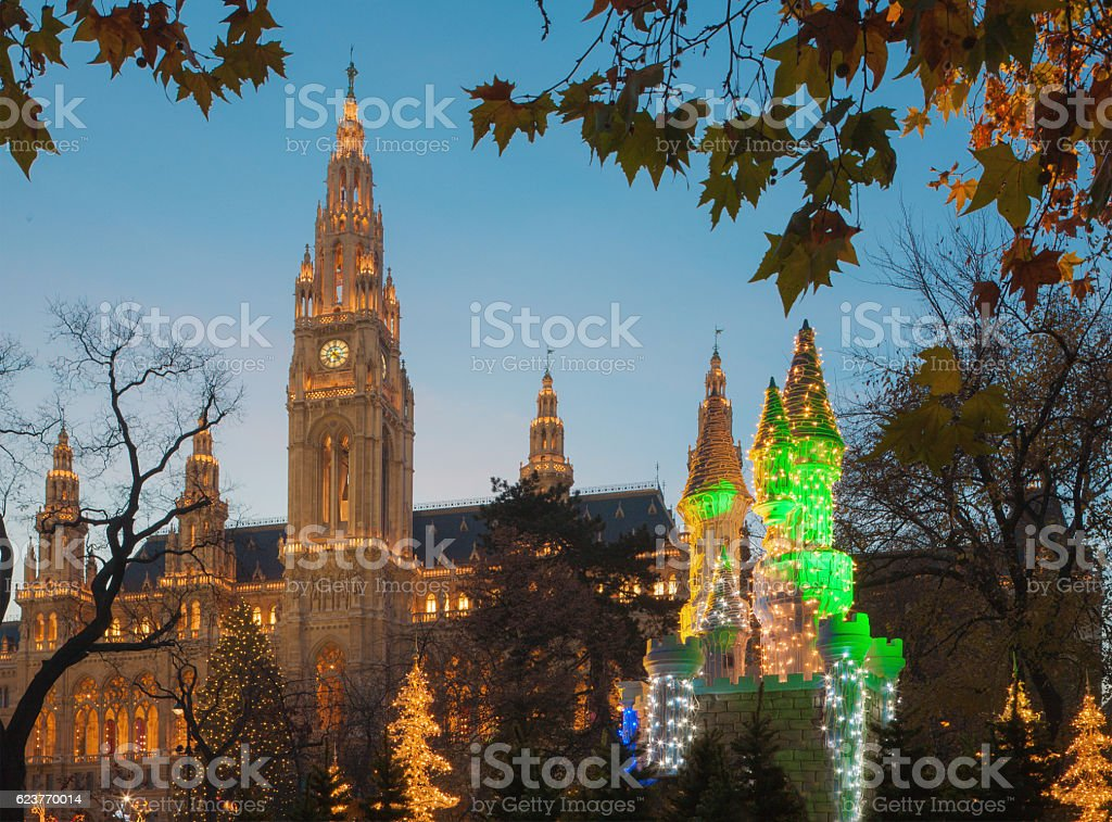 Vienna - town-hall and christmas market decoration. stock photo