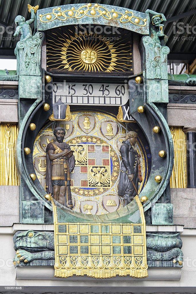 Vienna's Anchor Clock (Ankeruhr) stock photo
