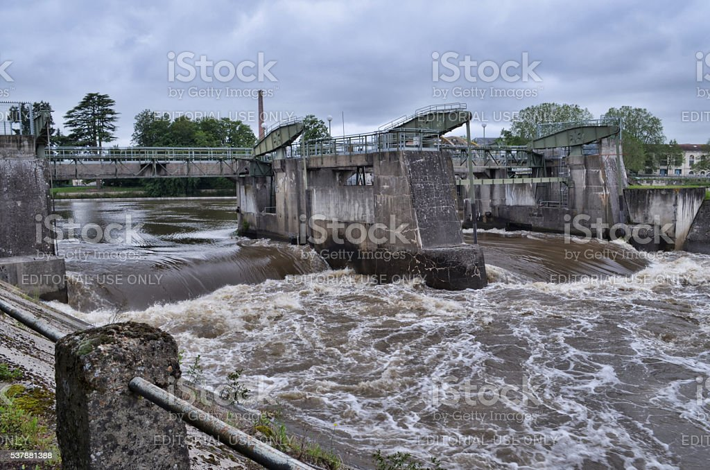 Vienne river in flood in Chatellerault, France royalty-free stock photo