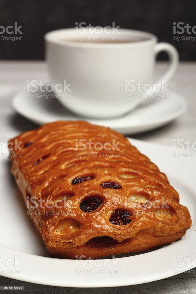 Viennoiserie. Apple and Blueberry Puff Pastry. stock photo