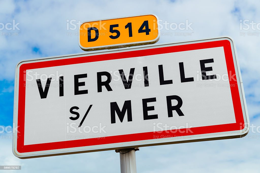 Vierville sur Mer road sign, Normandy stock photo