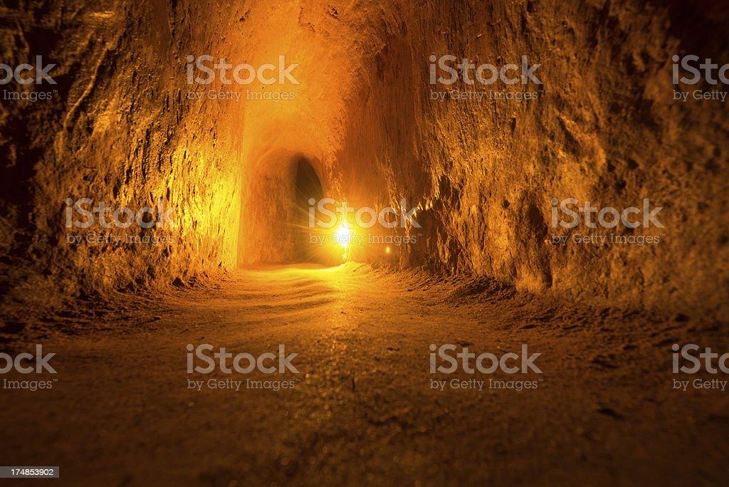 Viet Cong guerrilla tunnel in Vietnam stock photo