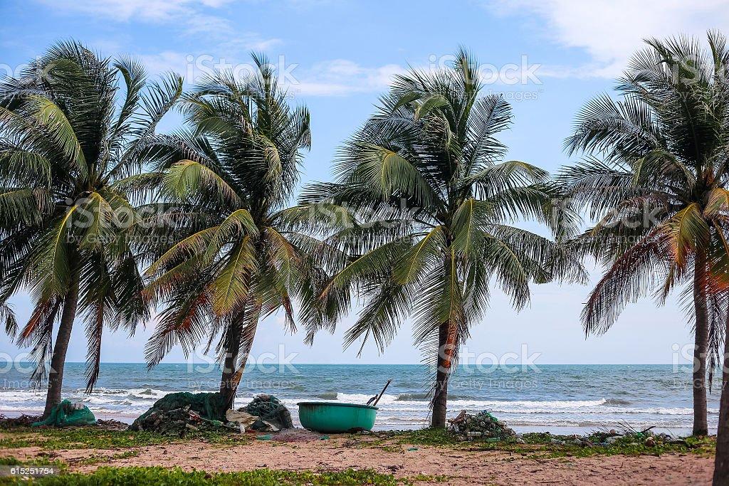 Vietnam boats on the coast stock photo