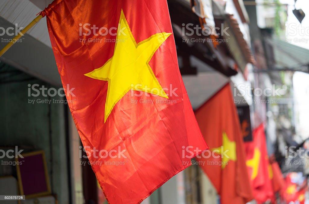 Vietnam flag on a street stock photo