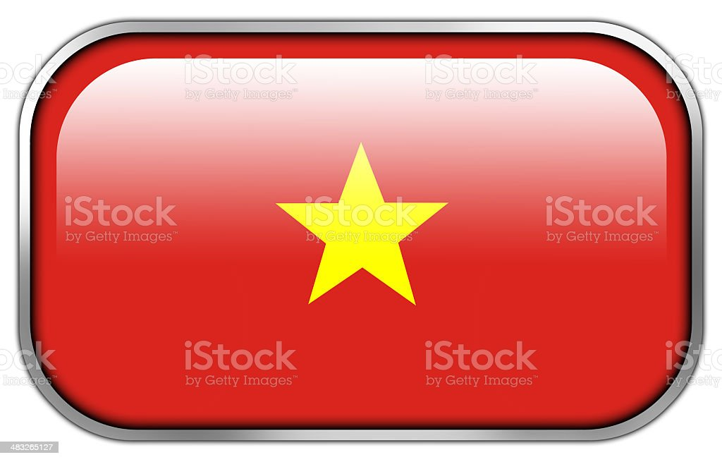 Vietnam Flag rectangle glossy button royalty-free stock photo