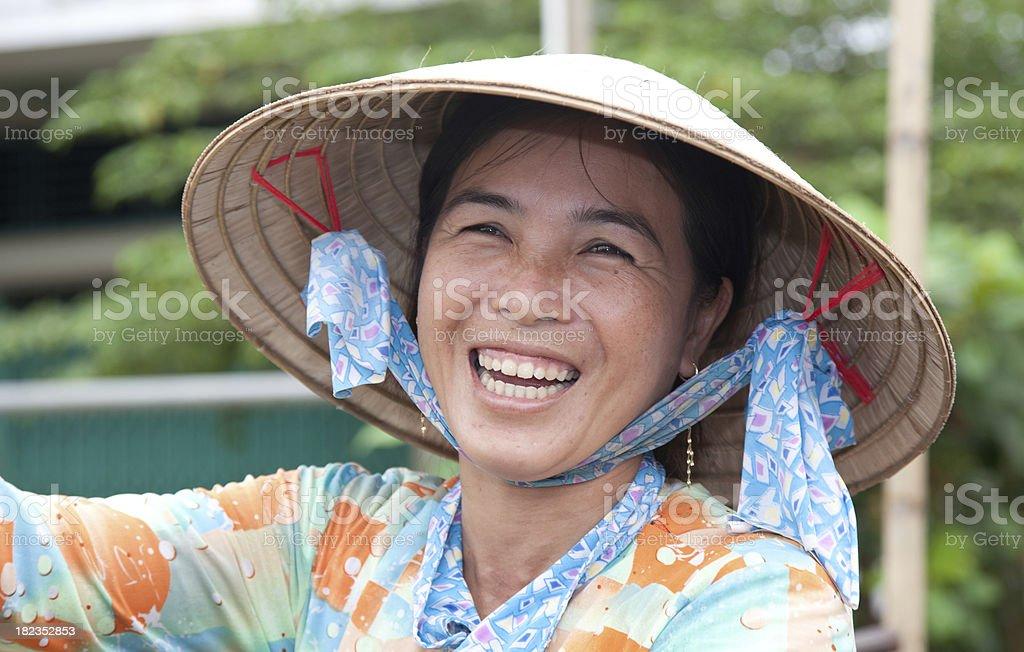 Vietnam, floating market, near Can Tho. stock photo