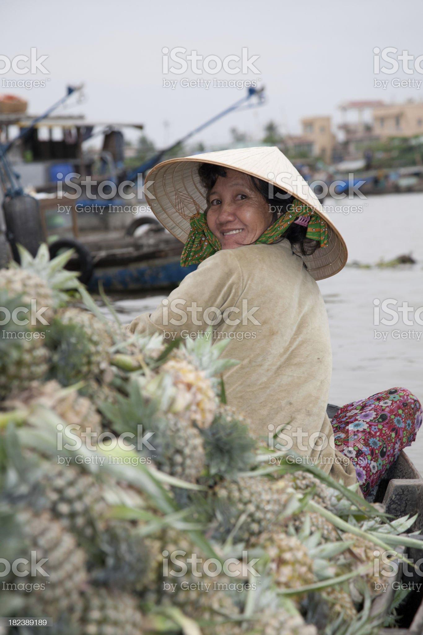 Vietnam, floating market, near Can Tho. royalty-free stock photo