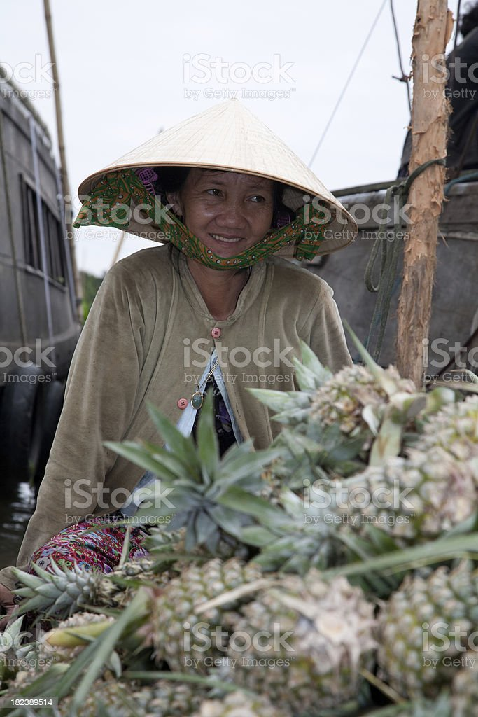 Vietnam, floating market, near Can Tho. royalty-free stock photo
