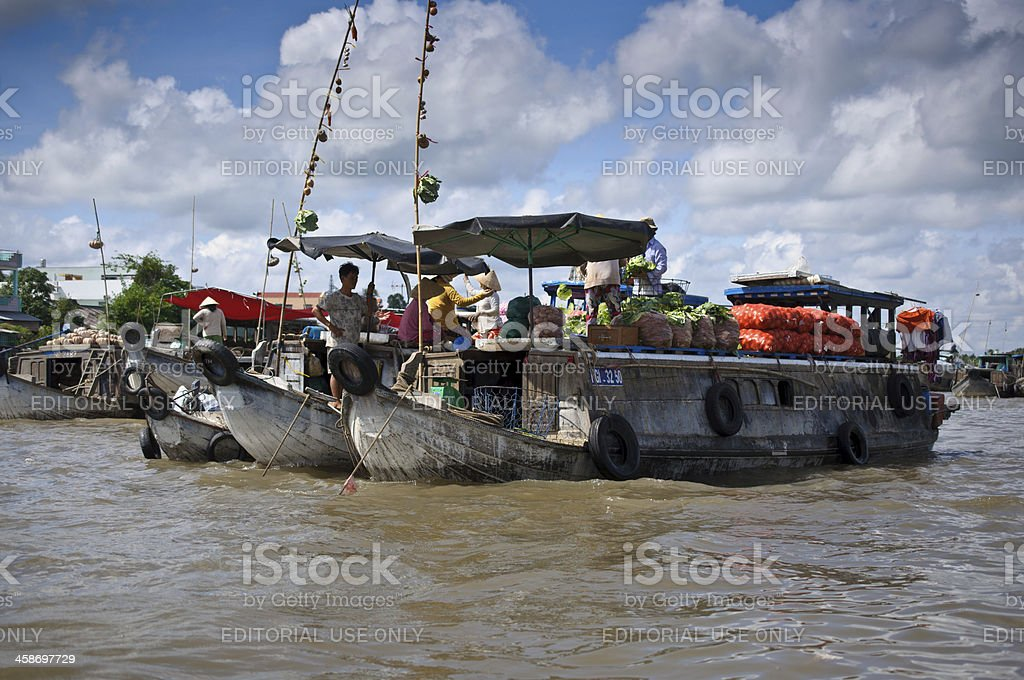 Vietnam Floating market royalty-free stock photo