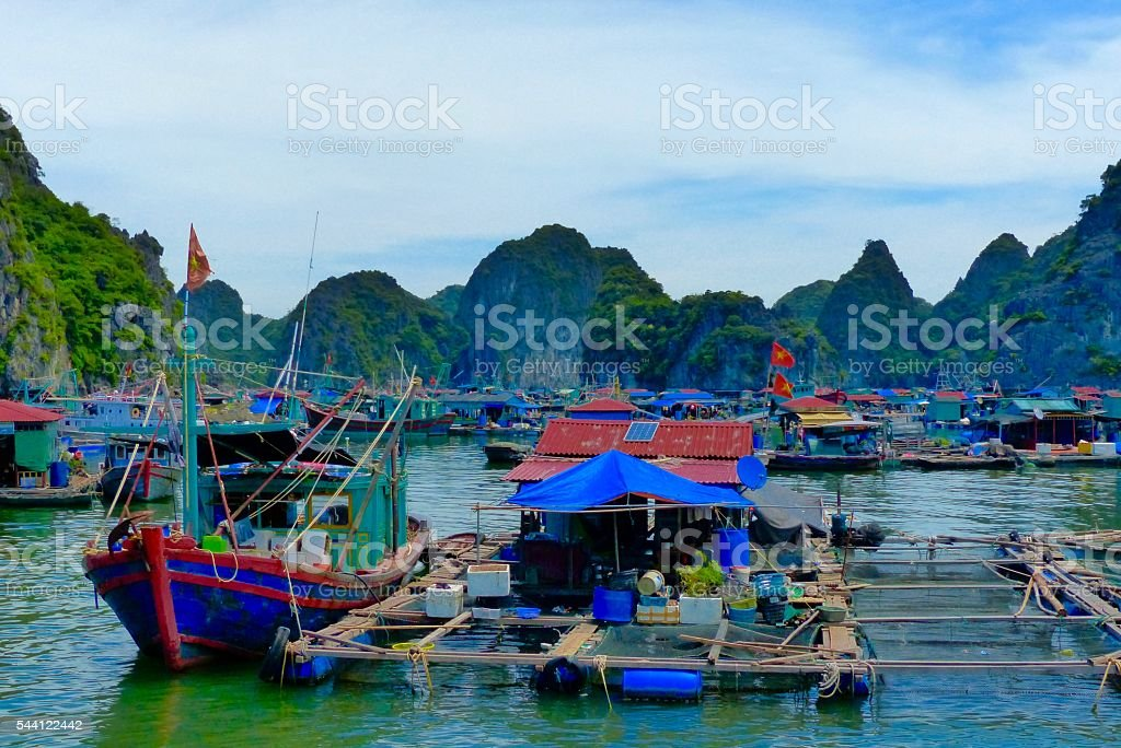 Vietnam- baie d'halong, Cua Van, village, pêcheurs stock photo