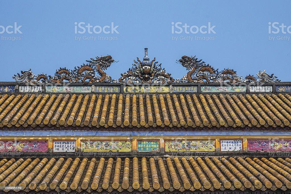 Vietnam Hué Citadel, Hall of Supreme Harmony roof. stock photo