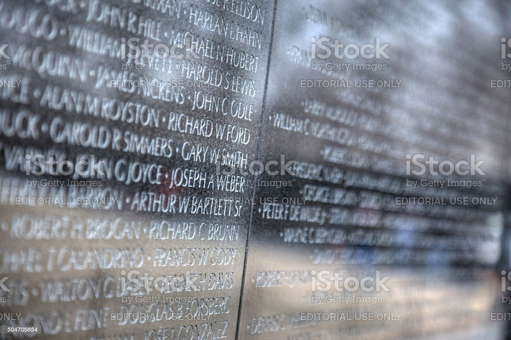 Vietnam Memorial Wall Detail stock photo