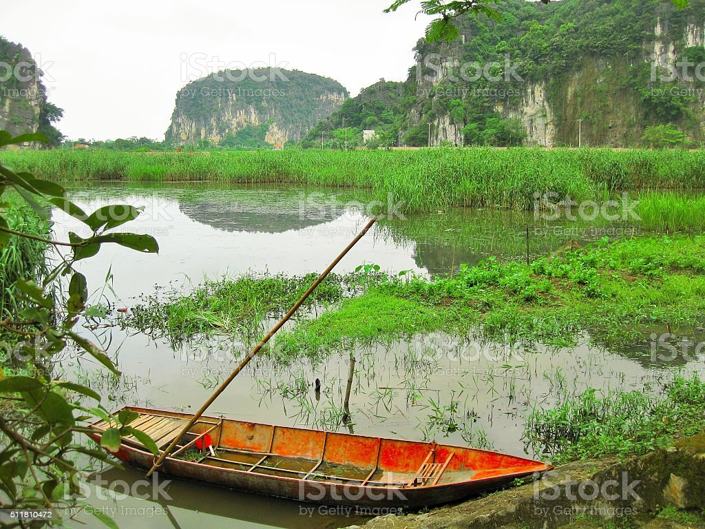 Vietnam Pond boat stock photo