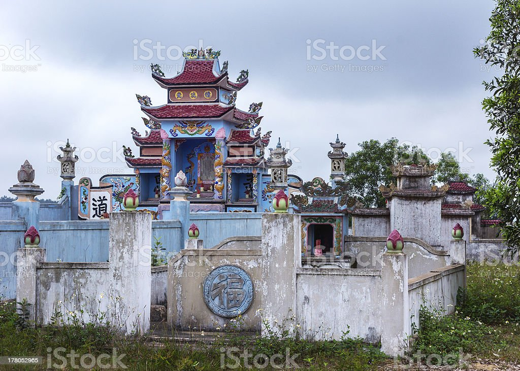 Vietnam Quang Binh: Family grave yards with shrines stock photo