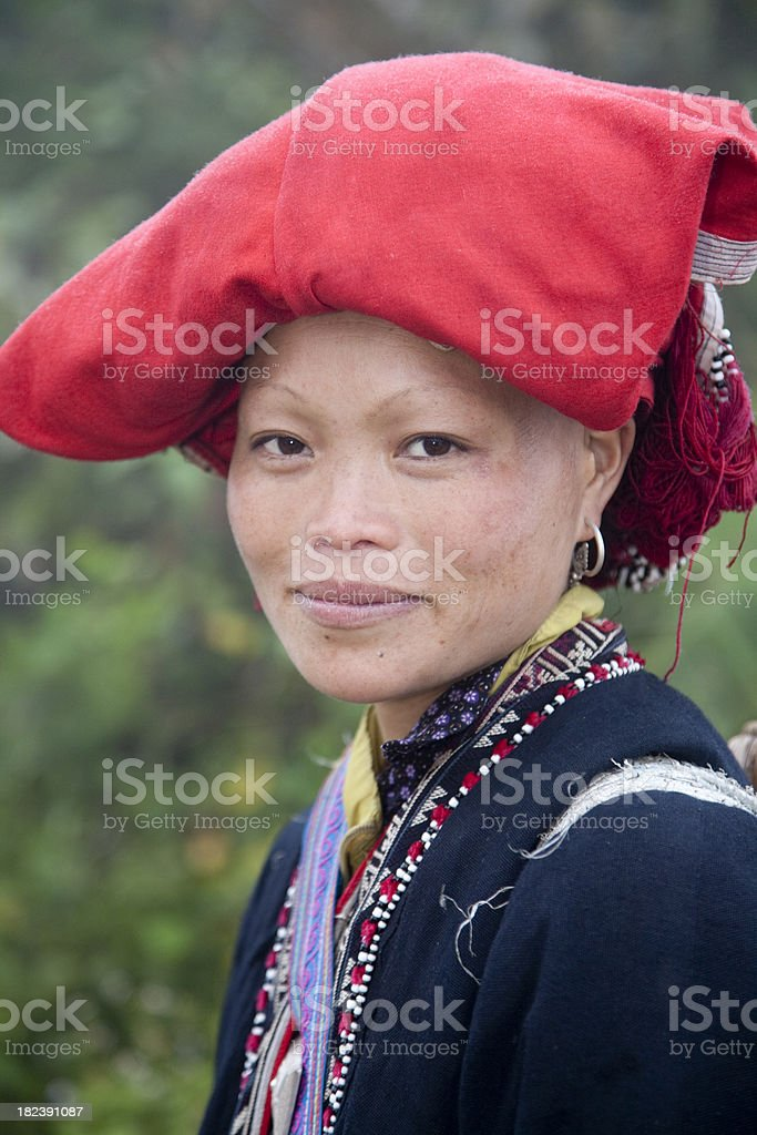 Vietnam, Red Dzao woman near Sapa. royalty-free stock photo