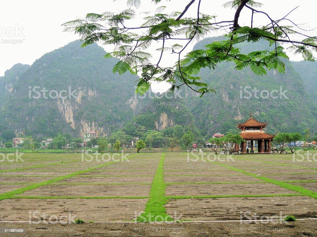 Vietnam Temple Courtyard stock photo