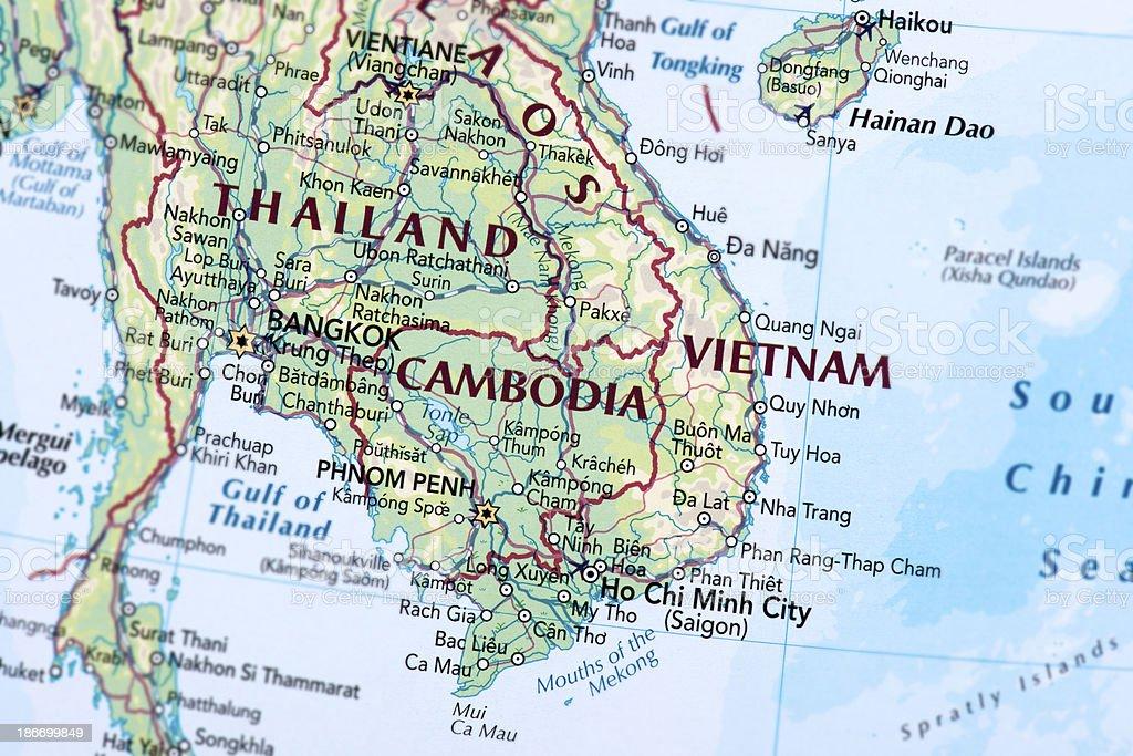 Vietnam, Thailand and Cambodia royalty-free stock photo