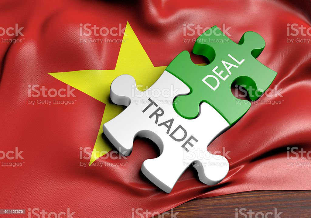 Vietnam trade deals and international commerce concept, 3D rendering stock photo