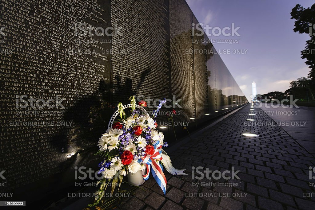 Vietnam Veteran's Memorial with Bouquet and Washington Monument royalty-free stock photo