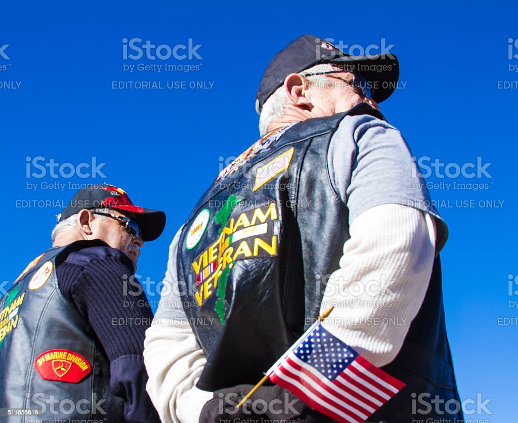 Vietnam Veterans With US Flag at Veterans' Day Memorial Service stock photo
