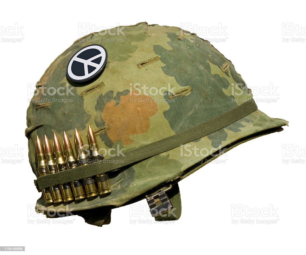 US Vietnam War Helmet - Peace Button stock photo
