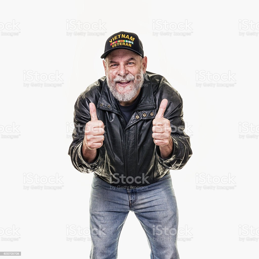 USA Vietnam War Leather Jacket Veteran Smiling Two Thumbs Up stock photo