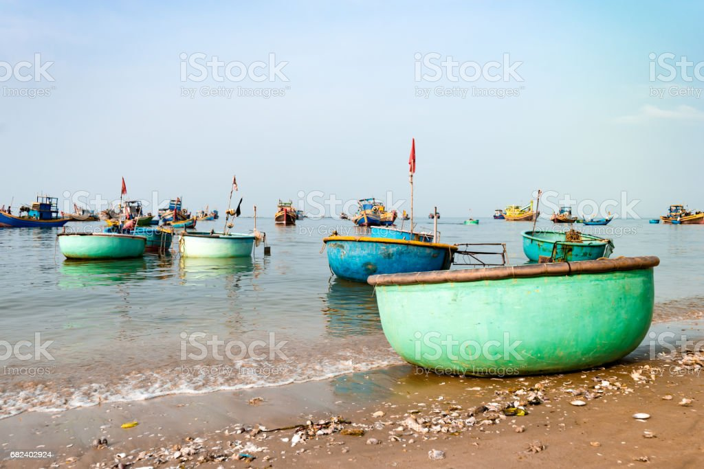Vietnamese basket fishing boats stock photo