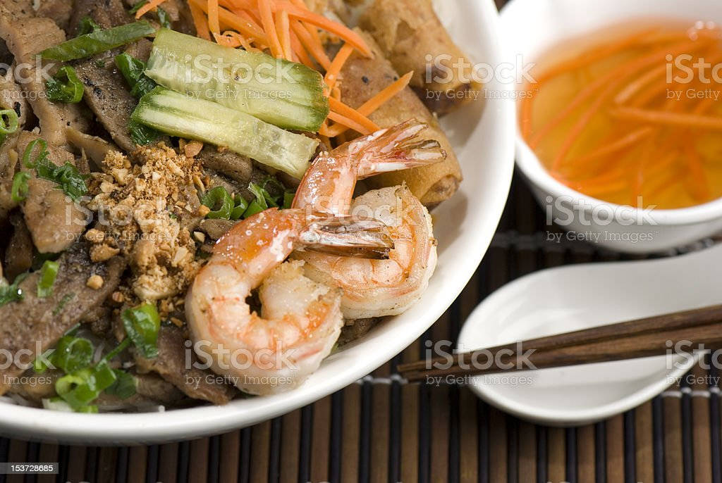 Vietnamese Beef and Shrimp Vermicelli Bowl stock photo
