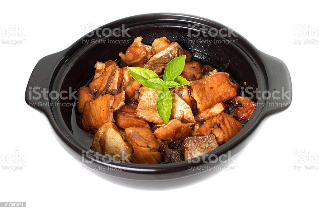 Vietnamese caramelized fish in clay pot - Ca Kho To stock photo