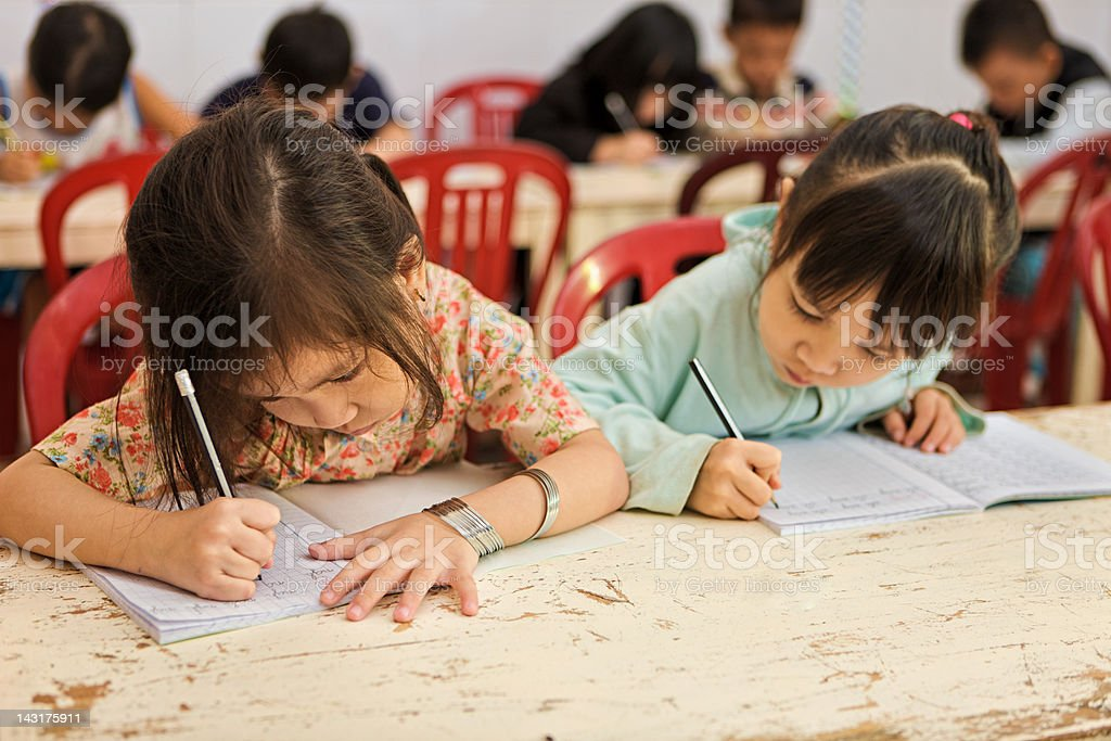 Vietnamese children in classroom stock photo