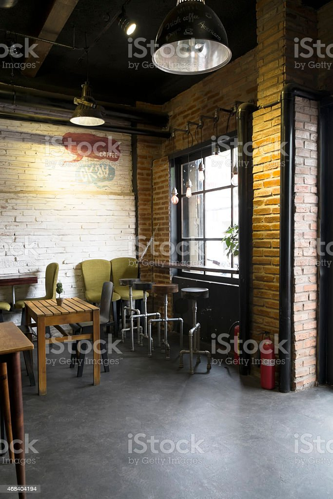 Vietnamese coffee shop interior photograph with brick walls royalty-free stock photo