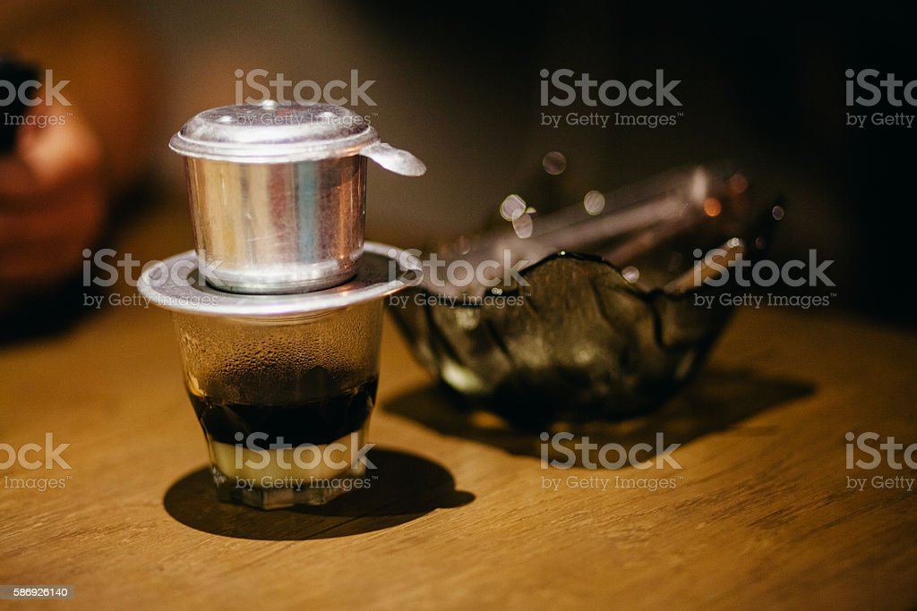 vietnamese coffee with sweet milk stock photo
