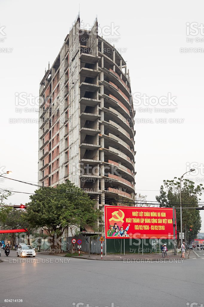 Vietnamese construction site stock photo